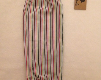 Carrier bag holder storage multi coloured stripes