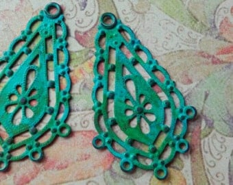 Filigree chandelier earring connectors Bohemian Victorian Chic Verdigris patina  Hand colour washed aged 35x45mm
