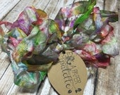 Hand Dyed Ribbon, Birthday Cake, Seam Binding Crinkle Scrapbooking Paper Crafts Mixed Media Jewelry Supplies Wedding Packaging