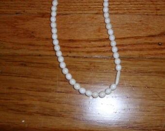 Two Ivory-Look Bone Vintage Necklaces- Reserved