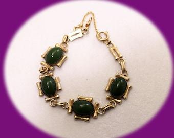 Vintage Green Cabonon Inserts Bracelet Gold Tone Vintage Jewelry Vintage Bracelet Vintage Brides Maid Gift