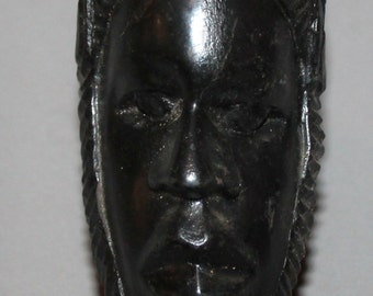 Vintage European Hand Carved Wood Male Head Statuette