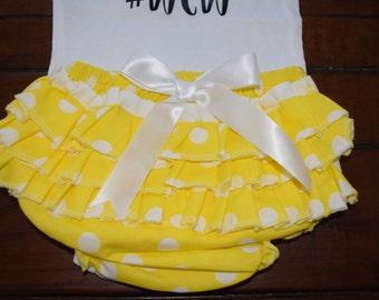 Yellow and White Polka Dot Bloomers and Headband