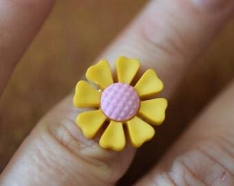 Yellow Flower Adjustable Ring