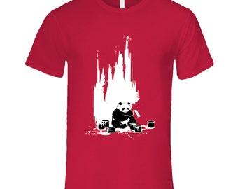 Of Black And White, Panda Wall Painting T Shirt