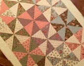 Handmade quilt pinwheels Moda fabrics flannel backing patchwork quilt throw