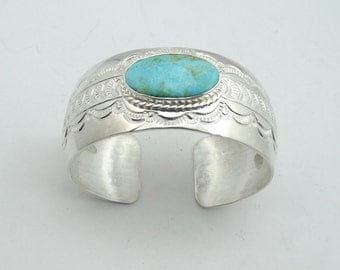 Vintage Charlie Nelson Collectable Navajo Sterling Silver Turquoise Cuff Bracelet #NELSON-CF1