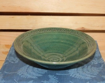Hand Carved Stoneware Pottery Bowl