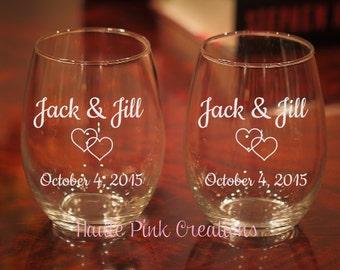 Wedding Wine Glasses, Etched Wedding Wine Glasses, Anniversary Wine Glasses, Engagement Gift, Wedding Gift, Anniversary Gift, Set of 2