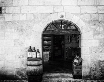 Wine Shop Print, French Wall Art Decor, Black & White Photo, Fine Art Photography, St Emilion Winery Picture, France Architecture Photograph