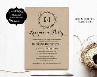 Wedding Reception Party Invitation Template, Kraft Reception Card, Instant DOWNLOAD - EDITABLE Text - 5x7, RP004, VW06