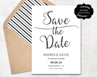 Modern Save the Date Card Template, Printable Save the Date, DIY Printable Wedding template, Instant DOWNLOAD - EDITABLE Text - 5x7, STD003