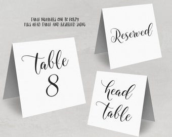 1–40 Wedding Table Numbers, Tented Table Numbers, Printable Wedding Table Numbers Template - DOWNLOAD Instantly, 5x5 Folded, TN04