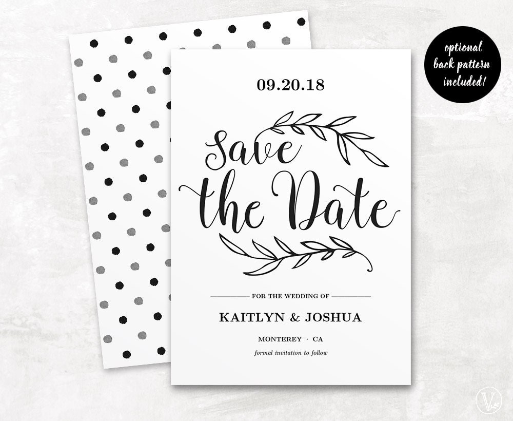Printable Save the Date Card Template Kraft Save by ...