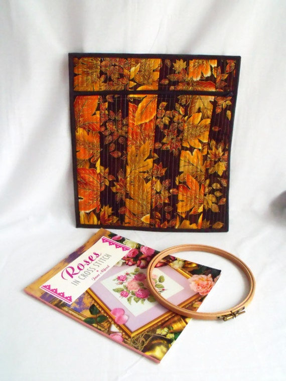 craft project bag, cross stitch bag, colouring book storage, large zipped pouch, quilted zipped pouch, autumnal cotton fabric
