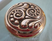 Avon Pressed Glass Jar with Ornate Gold Tone Lid