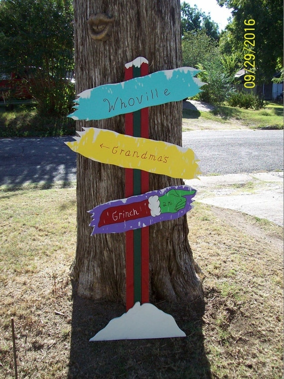 Whoville sign christmas yard art lawn wood by for Christmas yard signs patterns
