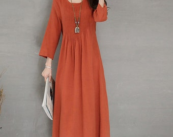 Women dress long sleeved dress winter dress long linen dress pleated dress evening dress, party(DRE0262)