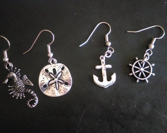 Nautical Mix n Match Earrings, Seahorse, Anchor, Ship Wheel, and Sand Dollar