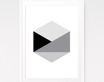 Geometric printable, Geometric wall art, Hexagon wall print, Scandinavian print, Black and white, Living room wall art, Printable art