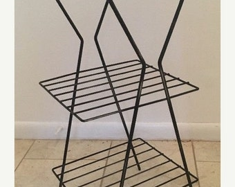 On Sale Vintage Retro Mid Century Black Wire Metal telephone smoke Stand Side Table