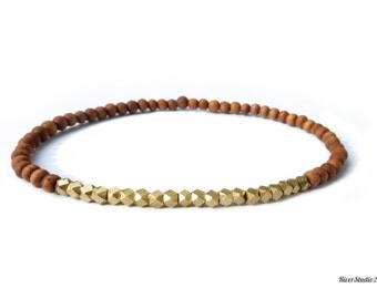 Sandalwood Bracelet Brass Beads