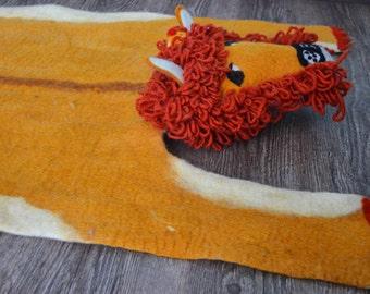 Felt 'Lion' Rug,Animal felt rug, felt mat,floor mat