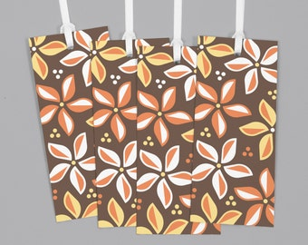 """Brown Hawaiian Floral Pattern Gift Tags (1.5"""" x 3.5"""") Set of 8"""