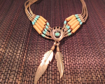 Cool Tribal Sterling Silver Turquoise Bear Claw Necklace