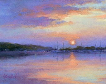 Sunset painting, Original art, Pastel harbor sunset, Boats at sunset, Impressionism art, Sunset sky painting, Lana Ballot art, Unframed art