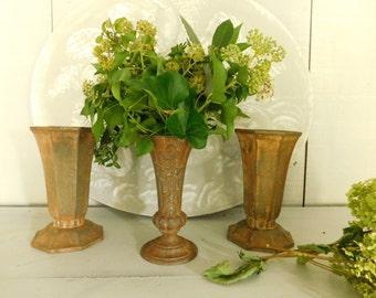 Antique cast iron urns  Set of 3 garden urns  Rusty metal urns  French cast iron urns  Rustic decor