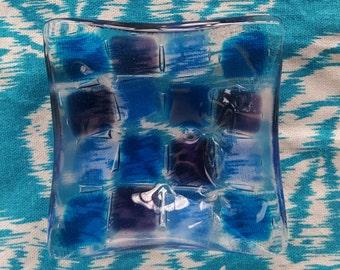 Squares dish // fused glass
