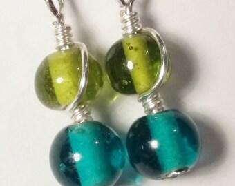 Beaded Earrings - Green Earrings - Teal Earrings - Colourful Earrings - Bold Jewellery