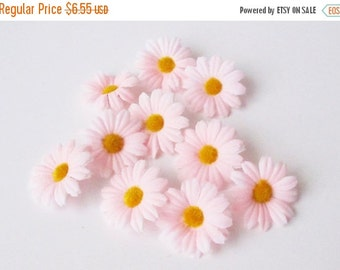"""ON SALE 10 Artificial Daisies Silk Flowers Soft Pink Chamomile yellow center 2"""" Floral Hair Accessories Flower Supplies Faux Fabric Chamomil"""