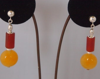 Sterling Silver, Yellow Jade and Carnelian Earrings