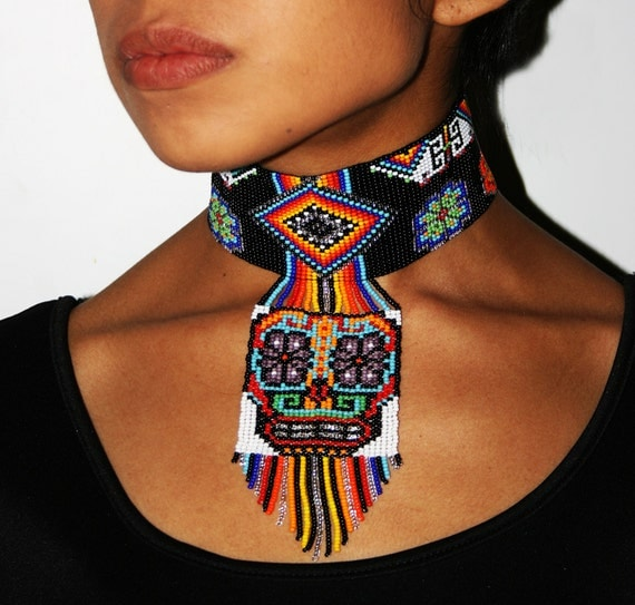 Beautiful Mexican Sugar Skull Choker Necklace, Huichol Necklace, Ethnic Sugar Skull Necklace, Native American Choker, Seed Bead Necklace