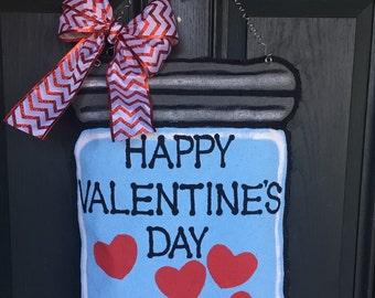 Mason Jar Bulap Door Hanger With Hearts For Valentine's Day