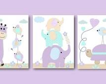 Purple Grey Playroom Art Giraffe Elephant Nursery Turtle Nursery Baby Girl Nursery Art Printable Art Instant Download set of 3 8x10 11X14