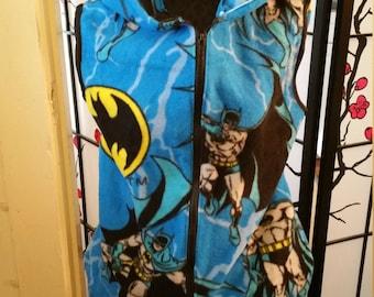 Unisex Adult Medium Batman Hooded Fleece Vest with Pockets and Zipper