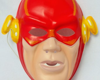 Vintage DC Comics The Flash Halloween Mask 1991 Costume Comic Book