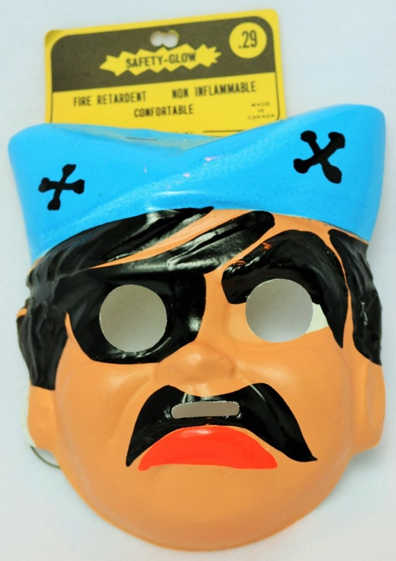 Vintage Pirate Halloween Mask Cartoon 1960's