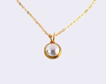 Single Pearl Gold Necklace, Pearl Gold Necklace, Pearl Necklace, Single Pearl Necklace, Pearl Pendant Necklace, Pearl Pendant Gold