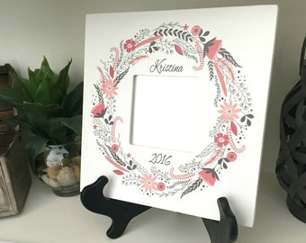 Personalized Mirror Frames - Floral Wreath Style