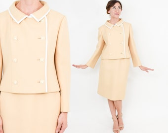 60s Gold Wool Suit | Finely Tailored Mod Double Breasted Jacket & Skirt Suit | Best Apparel | Small