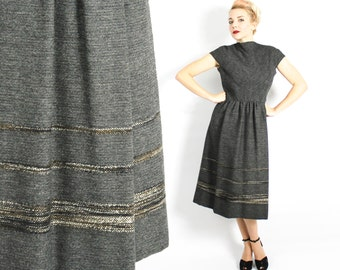 50s Pauline Trigere Dress | Perfect Grey Wool Dress | Designer Dress | Medium