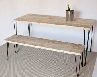 Mallory Dining Table. Dining table made from reclaimed wood and mid century-style hairpin legs. Great for Scandinavian look. Can custom make