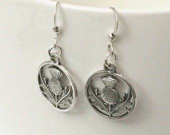 Silver Thistle Earrings/Antique Silver Thistle Earrings/Outlander Thistle Earrings/Scottish Thistle