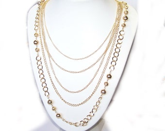 Gold Necklace - Long Gold Chain Necklace - Multi Strand Chain / Layered Swag / Bib - SALE CLEARANCE- E778y