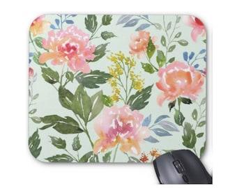 Watercolor Flowers Print Mouse Pad, Jade Green Colorful Vintage Floral Mousepad, Aqua/Pink/Peach
