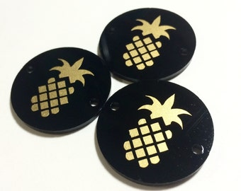"""Golden Pineapple on Black Discs - Pick your disc color choice - 1.25"""" bead - bangle bead jewelry making"""